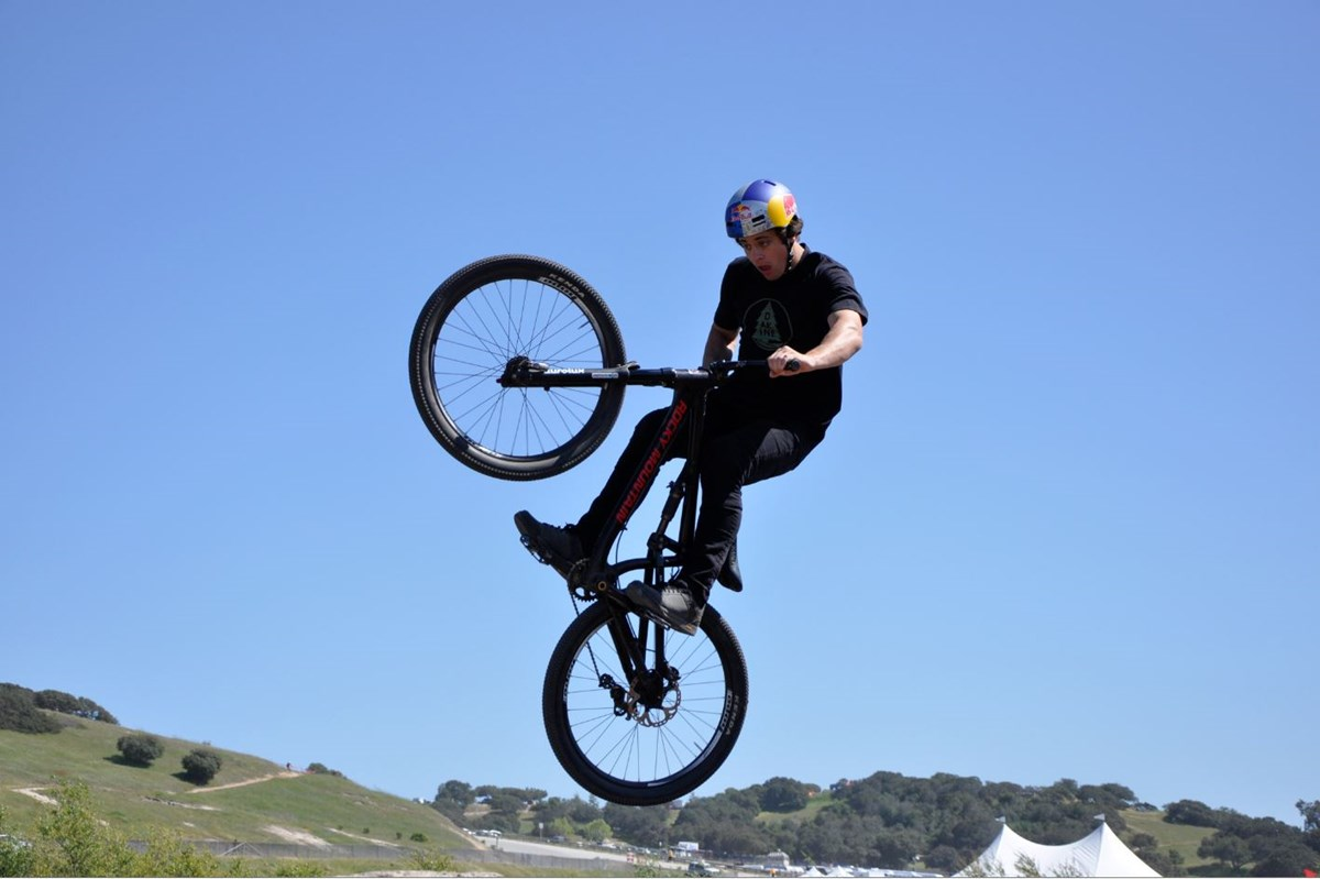 Kenda/Red Bull/Rocky Mountain  rider Carson Storch showing his style on the Subaru jump course.