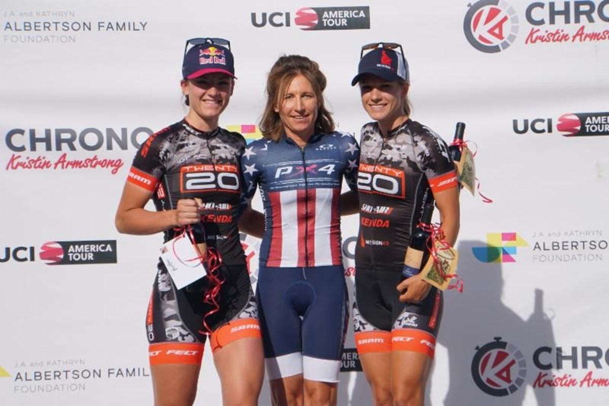 The Professional podium from the inaugural Chrono Kristen Armstrong: Chloe Dygert Owen (2nd), Amber Neben (1st), and Jasmin Duehring (3rd) - photo by Snowy Mountain Photography.