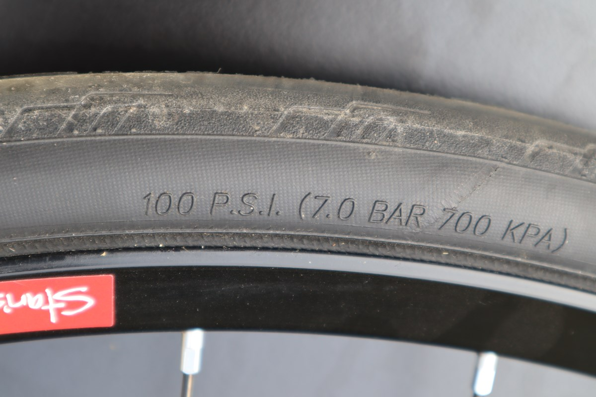 Max tire pressure - indicated in PSI, BAR, & KPA
