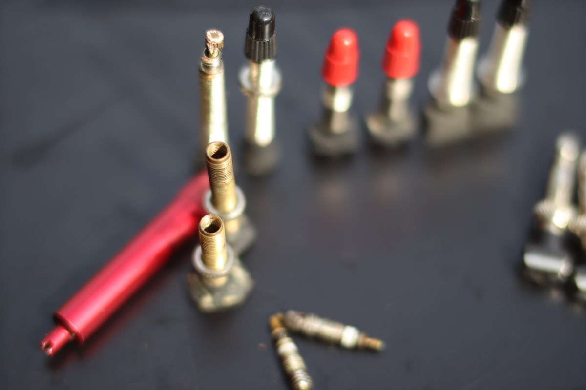 tubeless valves with cores removed for cleaning